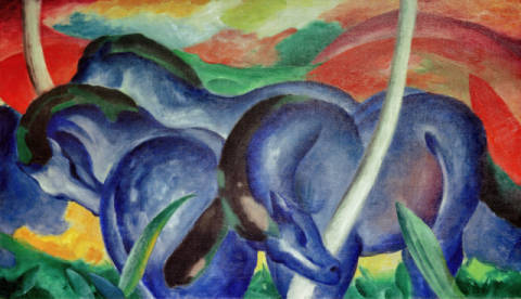 Large blue Horses of artist Franz Marc, Oil, 104, Fund, 20th, Gift, 1942, Marc, Blue