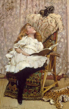 A Rival Attraction of artist Charles Burton Barber, Pet, 19th, Cane, Book, Girl, 1887, Genre, Child