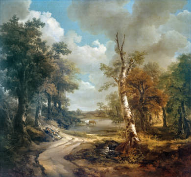 Forest Scene with Watering Hole (Cornard Forest) of artist Thomas Gainsborough, Thomas, Scenery, England, Painting, Landscape, Gainsborough