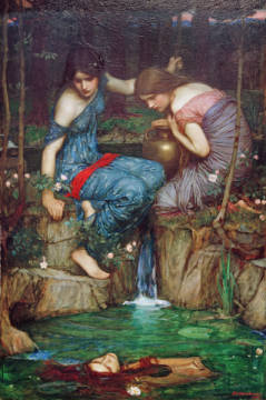 Nymphs Finding the Head of Orpheus of artist John William Waterhouse, Oil, 2nd, 1900, Canvas, Orpheus, Mythology, Millennium, Greco-roman