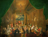 Ignaz Unterberger - Initiation ceremony in a Viennese Masonic Lodge during the reign of Joseph II, with Mozart seated on the extreme left, 1784.
