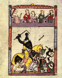 Buchmalerei Zürich - Codex Manesse, Duel with lances