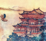 Chinesische Malerei - Pavilion of the Heavenly Melodies/c.1000
