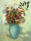 Flowers in turquoisecoloured vase of Bertrand-Jean Redon
