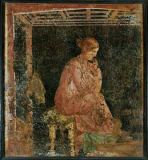 1. Jahrhundert - Sitting woman/Wall-painting/Pompeii/1stc