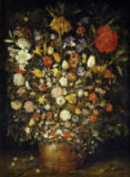 Jan Brueghel der Ältere - Big flower bouquet in a wooden vessel