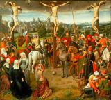 Hans Memling - Crucifixion. Centrepiece of a triptych.
