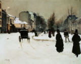 Norbert Goeneutte - Street Scene in Paris in Winter