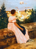 Jean Frederic Bazille - The Pink Dress, or View of Castelnau-le-Lez, Herault, 1864