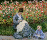Claude Monet - Camille Monet with a Child in the Painter's Garden at Argenteuil