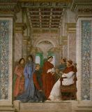 Melozzo da Forli - Pope Sixtus IV appoints Platina as prefect of the library