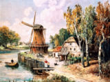 AKG Anonymous - Landscape w.Windmill / Painting / C19th