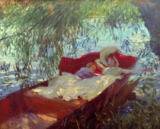 John Singer Sargent - A Lady and a Little Boy Asleep in a Punt under the Willows