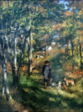 Pierre Auguste Renoir - The painter Jules Le Coeur with his dogs in the wood of Fontainebleau