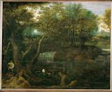 Lucas van Valckenborch - The fisherman at the forest pond