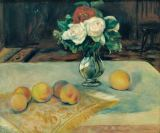 Pierre Auguste Renoir - Still life with bunch of flowers and peaches