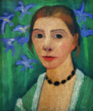 Paula Modersohn-Becker - Self portrait in front of green background with blue irises