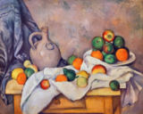 Paul Cézanne - Stilllife with curtain, jar and fruit bowl