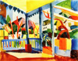 August Macke - Terrasse des Landhauses in St.Germain