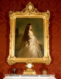Franz Xavier Winterhalter - Empress Elisabeth with loose hair in a Neglige (framed)