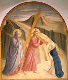 Fra Angelico - Christ carrying the Cross, with St.Mary and Saint Dominic