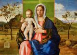 Giovanni Bellini - Virgin and child, 1510. Left: a monkey p