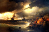 Iwan Konstantinowitsch Aiwasowski - Peter the Great lights a fire at Krasnoy Gorka as a signal for his fleet in distress