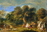 Frans Wouters - Landscape with nymphs and satyrs. Canvas