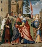 Vittore Carpaccio - The meeting of Joachim and Anne at the Golden Gate, with Saints Louis and Ursula