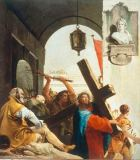 Giovanni Domenico Tiepolo - Carrying the Cross: Christ lifts the cross on his shoulder