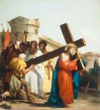 Giovanni Domenico Tiepolo - Carrying the Cross: Simon of Cyrene helps Christ carry the cross