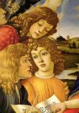 Sandro Botticelli - Four angels. Detail from the Coronation