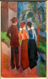 August Macke - Promenade of three people,1914 Oil on ca