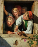 Ferdinand Georg Waldmüller - Children in a window,1853 Canvas Inv.335