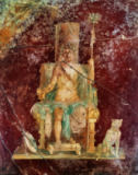 1. Jahrhundert - Bacchus on throne / Roman wall-painting