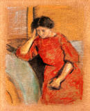August Macke - Elisabeth in a red dress