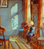 Anna Kristine Ancher - Sunshine in the blue room