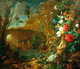 Jan Davidsz. de Heem - Forest ground still life with flowers and amphibians