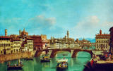 Guiseppe Zocchi - The River Arno and the bridge at Santa Trinita