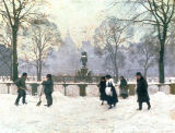 Paul Fischer - Snow Scene in the Kongens Nytorv, Copenhagen