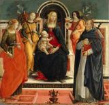 15. Jahrhundert - Enthroned Virgin Mary with the Child, two angels and St.Mary Magdalene (or Lucia?) and St.Peter the Martyr