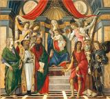 Sandro Botticelli - Enthroned Mary with the Child, angels, and Saint Catharine of Alexandria, St. Augustine, St. Barnabas, John the Baptist, Bishop