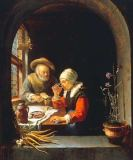 Frans van Mieris - Old couple having a meal
