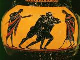 Griechische Vasenmalerei - Two wrestlers / Greek vase painting