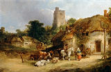 William Joseph Shayer - Villagers with their Animals outside the Plough Inn