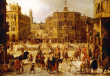 Louis de Caullery - A Tournament, with Acrobats and Clowns, in a Renaissance City Setting