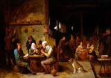 David Teniers - A Farmhouse Interior with Peasants at a Table Playing Cards