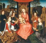 Hans Memling - Mary with the Child, the mystic marriage of Saint Catherine, Saint Barbara, two angels and a donor
