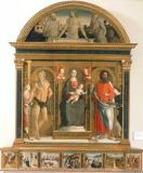Pietro di Francesco Orioli - Enthroned Mary with Child and Saints Onouphrius and Bartholomew / Christ in the Tomb with Saints Francis of Assisi and Hieronymu