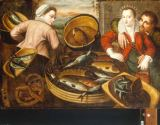 Joachim Beuckelaer - A Fish Stall with an Amorous Couple Observed by a Fishseller